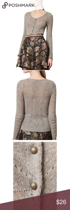 """Knitted & Knotted Anthro Shimmer Palette Cardigan Knitted & Knotted Anthro Shimmer Palette Cardigan🔸Size Large🔸Metallic shimmer brightens up this one from Knitted & Knotted🔸Bust 34-36, Length 22""""🔸Gray and metallic color🔸Front round buttons🔸Acrylic, wool, nylon, viscose, lurex🔸Hand wash🔸Style No. 28421824🔸Pre owned EUC Anthropologie Sweaters Cardigans"""