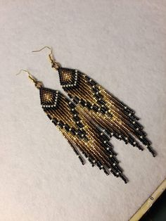 Bronze And Gold Seed Bead Earrings, Native American Style, Medium Length, Lightweight And Softly Sparkling