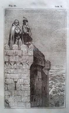 El Señor de Bembibre. Por Enrique Gil y Carrasco - (1844) Lámina V ... Quedaronse entonces entambos en silencio como embebecidos en la contemplacion del soberbio punto de vista que ofrecia aquel alcázar reducido y estrecho, pero que semejante al nido de las aguilas, dominaba la llanura. ...