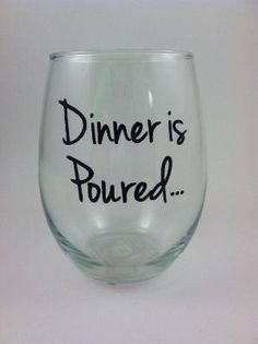 Personalized Dinner is poured stemless wine by QuiteUniqueBoutique by chloenunez