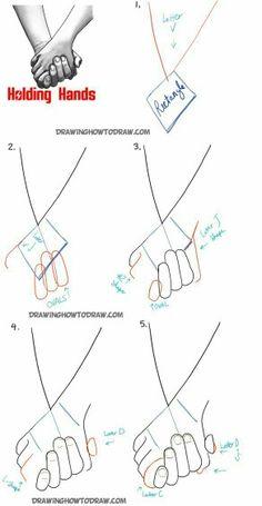 Tutoeial para dibujar, personas tomadas de la mano