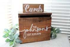 Rustic Personalized Painted Wooden Wedding Card Box LARGE - rustic country wedding keepstake trunk, rustic wooden card box large card box by BitsOfImperfection on Etsy https://www.etsy.com/listing/290222453/rustic-personalized-painted-wooden