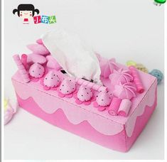 Pink Cute Kawaii strawberry Cream Tissue box cover Die Cut Non-Woven Fabric Japanese DIY felt Craft Felt Crafts Diy, Felt Diy, Fabric Crafts, Tissue Box Covers, Tissue Boxes, Felt Cake, Home Decor Shelves, Do It Yourself Kit, Craft Kits
