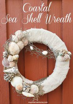 Coastal Sea Shell Wreath. Tutorial on how to make an interchangeable sea shell wreath for the summer. #BarbsBeachHouseDecor