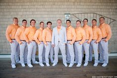Creamsicle colored shirts for the groom and groomsmen
