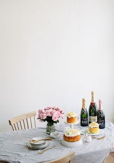 Herbed lemon cake with mascarpone cream,  baked lemons and champagne to start an adventure