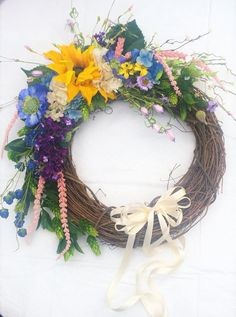 24 Inch Diameter Spring Flower Front Door by FantasyFloralsbyKay Spring Flowers, Grapevine Wreath, Florals, Wreaths, Fantasy, Unique Jewelry, Handmade Gifts, Etsy, Vintage