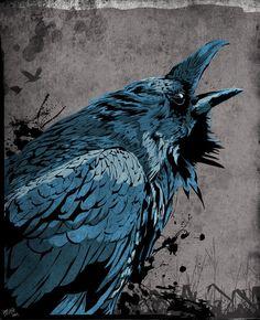Raven by heathdro on DeviantArt Crow Art, Raven Art, Bird Art, Raven Feather, Yarn Bombing, Gravure Photo, Raven Tattoo, Deer Tattoo, Tattoo Ink