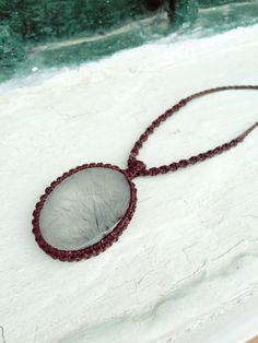 Rutilated quartz necklace Macrame necklace natural by SPIRALICA