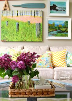 Spring Changes in the Living Room at thehappyhousie | Great styling