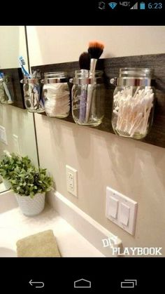 Mason jar bathroom organizers