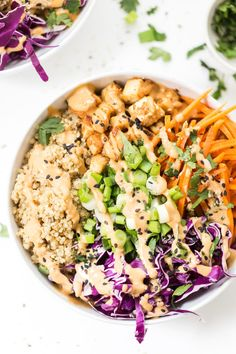 Asian Quinoa Bowls with Peanut Baked Tofu -- use up the veggies in your fridge to whip up this TASTY bowl meal!