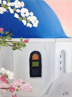 Sunday in Santorini 9 x 12 Original Painting by CFineArtStudio