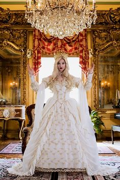 Sleeping Beauty Princess Medieval Fantasy Gown IVORY/CHAMPAGNE Custom