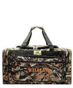 "Personalized Camo Black Duffle Bag Large 23"""