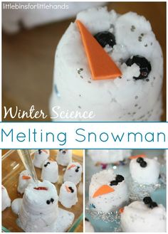 Melting snowman: small plastic cups {dollar store} baking soda vinegar water