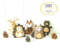 This listing is for five felt mini woodland stuffed animal hand sewing patterns: a rabbit, a hedgehog, a fox, an owl, and a bear. If youre looking to decorate a nursery or make a woodland mobile, consider these felt critters as a starting point. ~~~o~~~o~~~o~~~o~~~o~~~o~~~o~~~  • This is a DIGITAL DOWNLOAD, not a PHYSICAL PRODUCT. You will not receive anything in the mail / by post. • You are welcome to sell personally-made finished products made from my patterns. It is illegal to sell o...