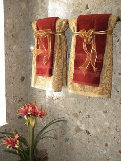 layered red and gold hand towels -- Trending in Bathroom Decor - Luxurious Fall Linens from Bathroom Bliss by Rotator Rod Bathroom Towel Decor, Bath Decor, Bathroom Ideas, Bath Ideas, Bathroom Remodeling, Design Your Own Bathroom, Towel Display, Christmas Bathroom, Gold Bathroom