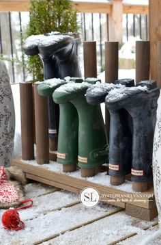 10 Smart Ways to Keep Shoes Tidy: A rack of dowels can prevent your crew from tracking in slush after a long day shoveling snow, splashing through puddles, feeding livestock, etc.. (Probably best placed on a protected porch or in a garage or barn, so stockinged feet stay dry until you get in the house.