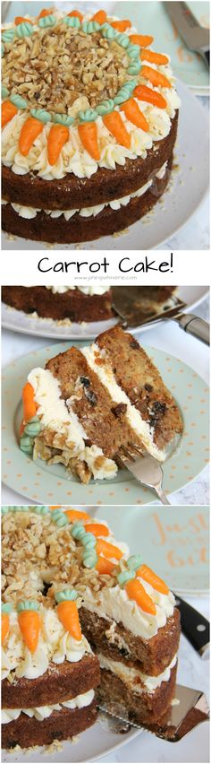 Carrot Cake! ❤️ Delicious & Moist Carrot Cake, Decorated with a lovely light Vanilla Buttercream and nuts!