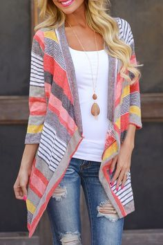 Cute style, and pattern. Open Front 3/4 Sleeve Striped Thin Coat. Great outfit for the fall!