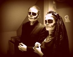 skeleton couple halloween costume & makeup
