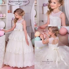 2016 Lovely Princess Sheer Crew Neck Tiers Skirts Flower Girls' Dresses Sheer Crew Neck Backless Lace…
