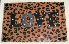 LOVE with Leopard print and bling magnet frame