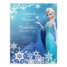 Frozen Elsa Birthday Party Invitation Elsa Birthday Invitations, Frozen Party Invitations, Birthday Invitation Templates, Invitation Cards, Wedding Invitations, Personalized Invitations, Disney Invitations, Invitation Ideas, Invitation Design