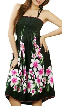 HAWAIIAN BLACK W/ PINK PLUMERIA SHORT SUN DRESS- « Dress Adds Everyday