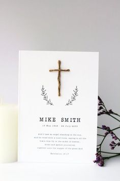 Funeral Program Handmade Cross, Digital File or Printed Cards, Quick Turnaround Funeral Programs, New by The Word Shop