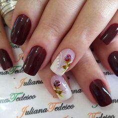 Rose Nails, Flower Nails, Shellac Nails, Nail Manicure, Nails Only, Pretty Nail Art, Elegant Nails, Bridal Nails, Beautiful Nail Designs