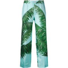 F.R.S For Restless Sleepers palm print loose fit trousers ($460) ❤ liked on Polyvore featuring pants, blue, blue silk pants, cut loose pants, loose trousers, silk trousers and green pants