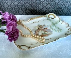 """Antique 1890s A. Lanternier Hand-Painted Limoges Porcelain """"Romance"""" Dresser Tray with Gold Trim by AnchorLineVintage on Etsy"""
