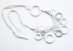 """moon"" leather and silver lurex neckpiece by Anna Maria Cardillo"