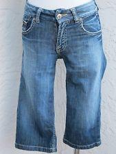 Joe and Paul size 25 blue denim stretch knee length bermuda walking shorts jeans