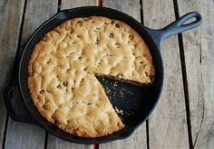 Giant chocolate chip cookie + cast iron pan