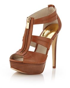 MICHAEL Michael Kors Berkley Leather T-Strap Sandal, Luggage - Michael Kors