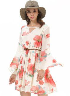 robe plissée V col dos dénudé motif floral  photos