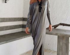 Gray Maxi Long Sleeve Dress / Gray Kaftan / Asymmetric Plus Size Dress / Oversize Loose Dress / #35048