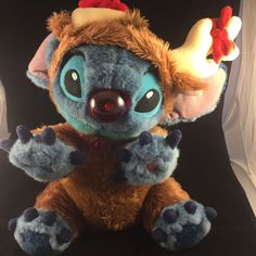 "Reindeer Stitch 14"" Plush Doll Walt Disney World RARE Lilo & Stitch Rudolph 
