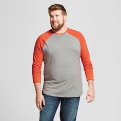 Men's Big & Tall Standard Fit Long Sleeve Baseball T-Shirt - Goodfellow & Co Orange 4XBT