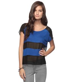 Sheer Contrast Colorblock Top Forever 21