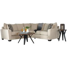 Ashley Wixon Cream Chenille Sectional | Weekends Only Furniture and Mattress