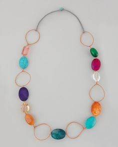 Multicolor Crystal-and-Wire Necklace by Panacea at Neiman Marcus.