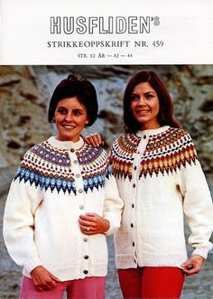 Husfliden 459 Norwegian Style, Nordic Style, Cardigan Design, Fair Isle Knitting, Vintage Sweaters, Color Combinations, Knitwear, Knitting Patterns, Womens Fashion