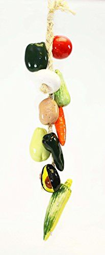 Large Ristra/ String of Ceramic Vegetables, with 11 Veggies, 30 Inches Long.