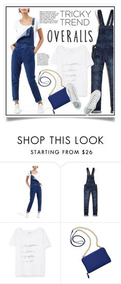 """Tricky Trend: Overalls"" by ewa-naukowicz-wojcik ❤ liked on Polyvore featuring Topshop, Hollister Co., Violeta by Mango, TravelSmith, adidas, TrickyTrend and overalls"