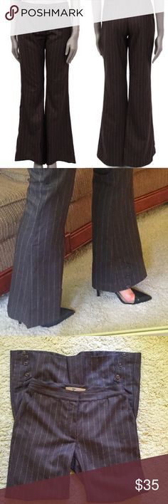 John Galliano brown wool pinstripe flare pants sz2 EUC there was no way I could model these size 2 but I was able to show how the button detail on the hem is worn. John Galliano Pants Boot Cut & Flare