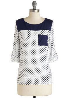 Blueberry Parfait Top - Mid-length, Jersey, Knit, White, Polka Dots, Pockets, Casual, 3/4 Sleeve, Blue